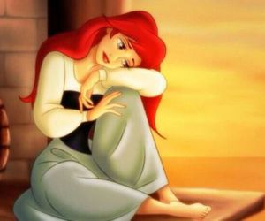 ariel, disney, and sad image