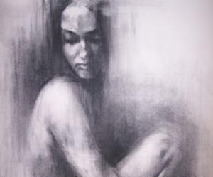 alone, dark, and black and write image