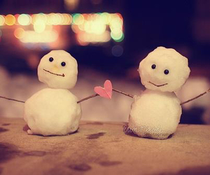 love, snow, and heart image
