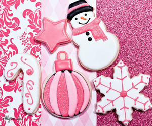 pink, christmas, and Cookies image