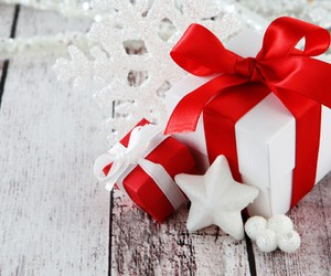 gifts, holiday, and snow image