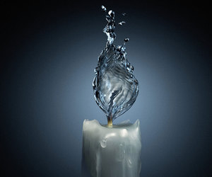 water, candle, and fire image