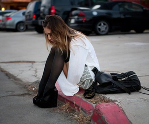 girl, shoes, and alone image