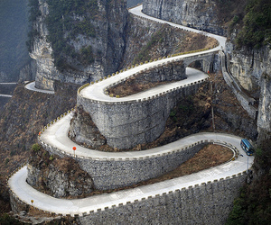road, china, and mountains image
