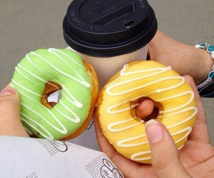 coffee, donuts, and green image