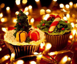 christmas, cupcake, and light image