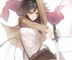 anime, shingeki no kyojin, and mikasa ackerman image
