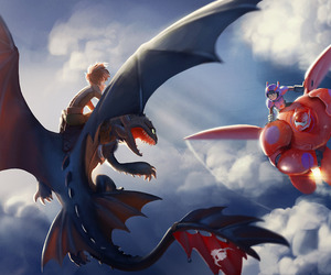 baymax, toothless, and hiccup image