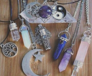necklace, moon, and crystal image