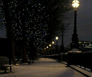 awesome, street lamps, and winter night image