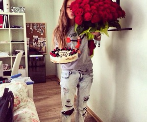 girl, cake, and rose image