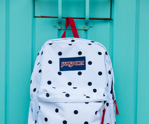 backpack, black and white, and polka dots image