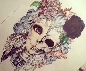 drawing, art, and skull image