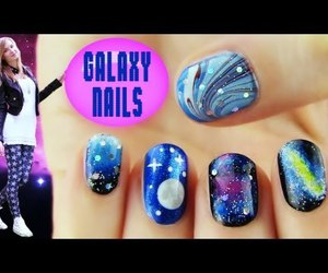 galaxy, nail polish, and nebula image