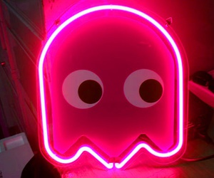 pacman, pink, and blue image