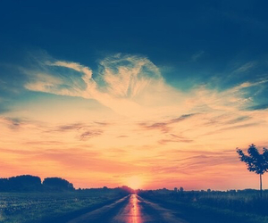 road and sunset image