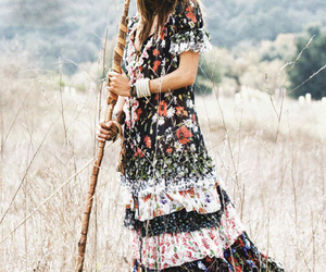 dress, hippie, and nature image