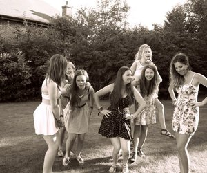 black and white, friendship, and girls image