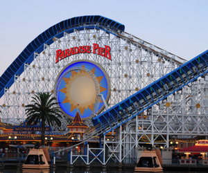 Roller Coaster, sun, and paradise pier image