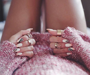 black and pink, girl, and hands image