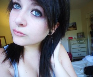 black hair, stretched lobes, and girls image