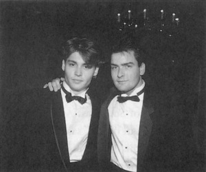 charlie sheen, johnny depp, and black and white image