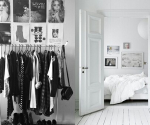 room, clothes, and black and white image