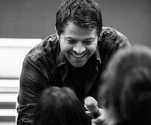 misha collins, black and white, and supernatural image