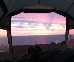 camp, sea, and tent image