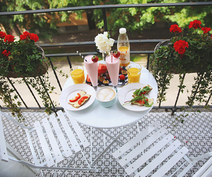 breakfast, flowers, and food image