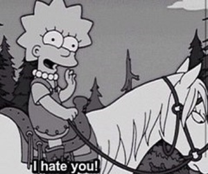 hate, black and white, and the simpsons image