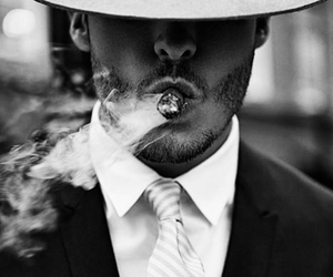 man, cigar, and smoke image