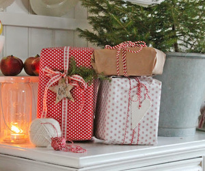 christmas, packages, and red image