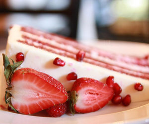 cake, strawberry, and dessert image