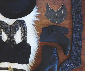 black, outfit, and boots image