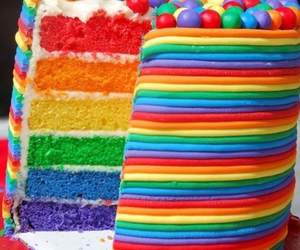 cake, rainbow, and red image