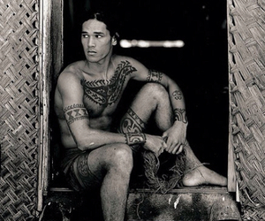 attractive, long hair, and polynesian men image