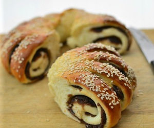 bread, sesame, and red bean image