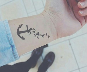 tattoo, anchor, and bird image