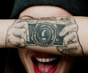 tattoo, camera, and smile image