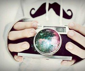 camera, mustache, and galaxy image