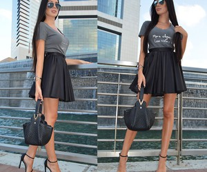 black skirt, fashion, and outfits image