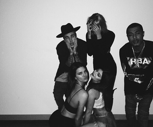 justin, kendall jenner, and kylie jenner image