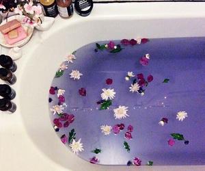 flowers, bath, and purple image