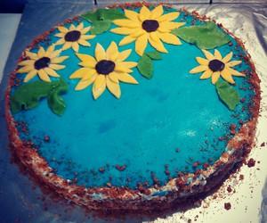 birthday, cake, and sunflowers image