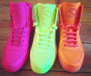 shoes, gucci, and neon image
