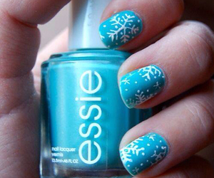 nails, blue, and snowflake image