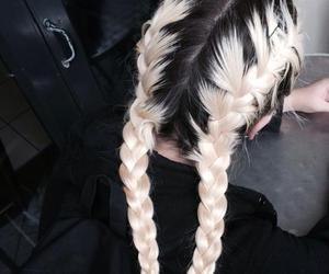 black, hairstyle, and braids image