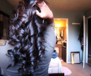 brown, brunette, and curly hair image