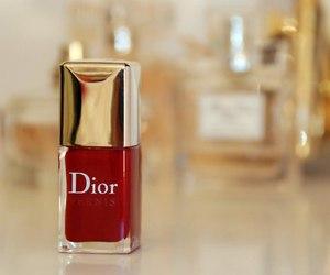 dior, red, and nail polish image